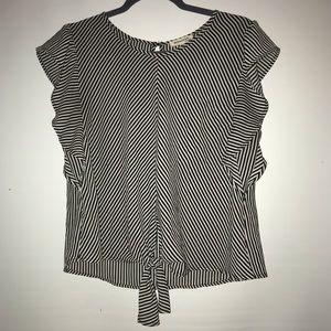 MONTEAU black & white striped top w/knot